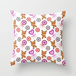 Funny dancing red-nosed baby reindeer, vintage candy lollipops. Cute Christmas nursery pattern Throw Pillow