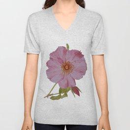 Botanical Pink Rose Watercolor Unisex V-Neck