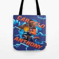 nba Tote Bags featuring NBA Stars: Carmelo Anthony by Akyanyme