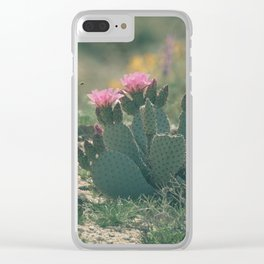 Pink and Green Cactus in Bloom Clear iPhone Case