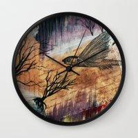 literary Wall Clocks featuring Literary Flying Fish by Sarah Sutherland