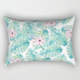 Modern summer tropical blush pink green watercolor floral Rectangular Pillow