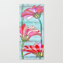 Gerbera flowers print, floral pattern in mint and pink Canvas Print