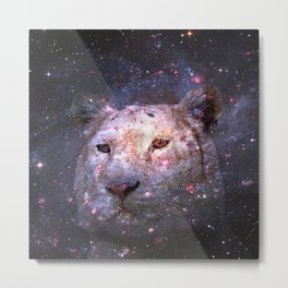 Tiger and Galaxy Metal Print