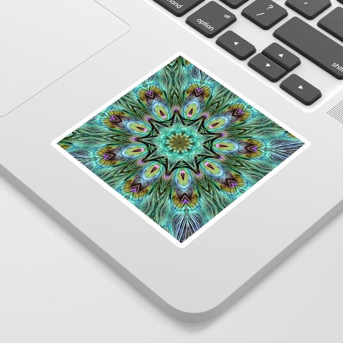 Colorful Peacock Feather Kaleidoscope Sticker