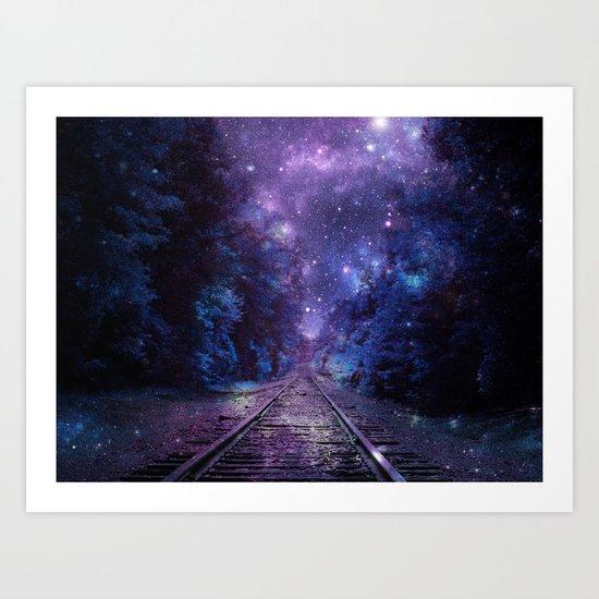 TRAIN tracks Purple Blue Art Print