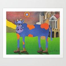 Udderly Frank - Funny Cow Art Art Print