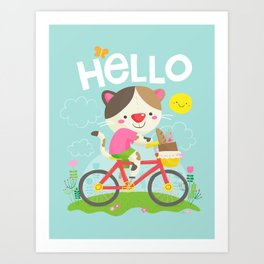 Cat on a bike Art Print