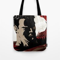 man of steel Tote Bags featuring MAN OF STEEL by Taylor Callery Illustration