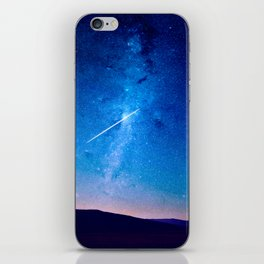 distant milky way galaxy at night beautiful night sky shooting star iPhone Skin