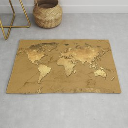 world map marble gold 3 Rug