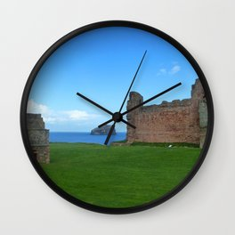 Bass Rock from Tantallon Castle, North Berwick, Scotland Wall Clock