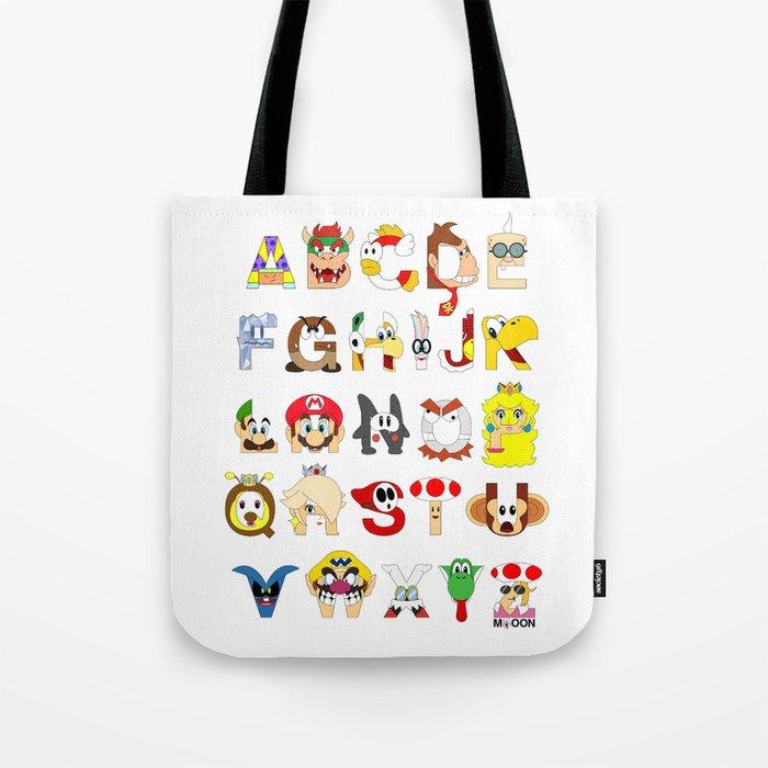 Super Mario Alphabet Tote Bag