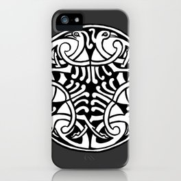 Celtic Art - Interlaced Birds - on Grey iPhone Case