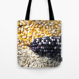 White, yellow and blue corn Tote Bag