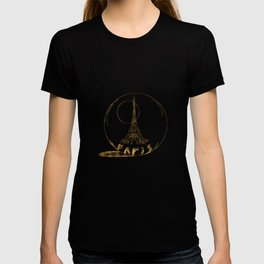 Golden Paris . Eiffel tower . Art T-shirt