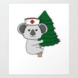 Climbing Koala Bear International Nurse T-Shirt Art Print