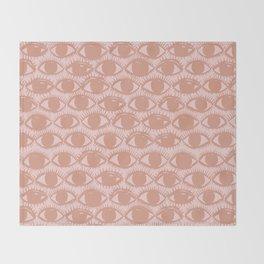 Inky Eyes // Dusty Pink Throw Blanket