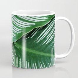 Green Tropical Leaves with White Stripes Closeup Coffee Mug