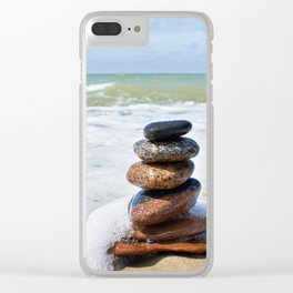 Stones in pyramid and wave on sand beach Clear iPhone Case