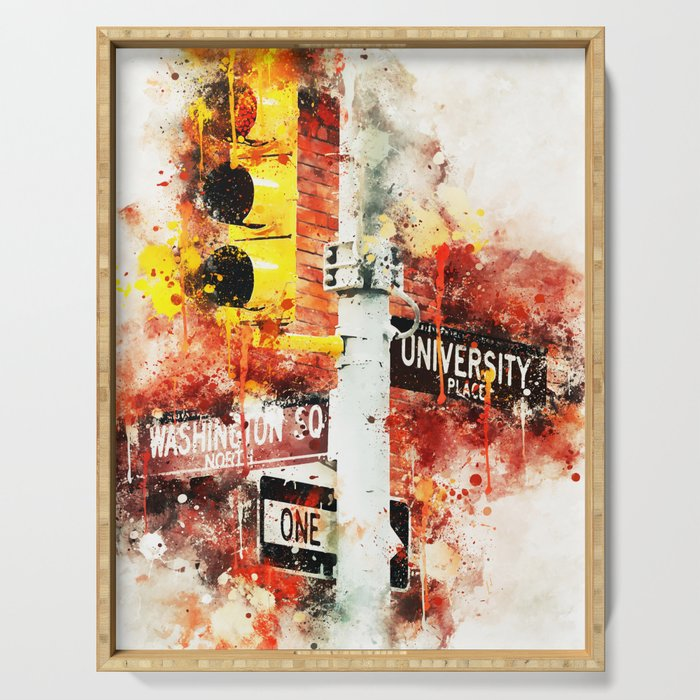 NYC Watercolor Collection - Manhattan Signs Serving Tray
