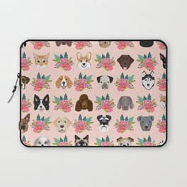 Dogs and cat breeds pet pattern cute faces corgi boston terrier husky airedale Laptop Sleeve