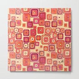 Watercolour Squares Red Amanya Design Metal Print