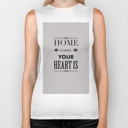 Home Heart grey - Typography Biker Tank