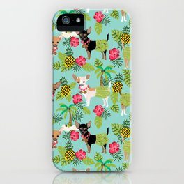 Chihuahua hawaii hula tropical island pineapple dog breed chihuahuas pet pattern iPhone Case