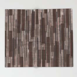 Brown Line Grid Throw Blanket