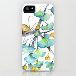 Ginkgo and A Snail iPhone Case