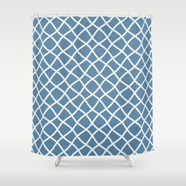Grayish blue and white curved grid pattern Shower Curtain