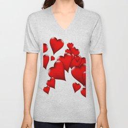 MODERN ART RED VALENTINES HEART  DESIGN Unisex V-Neck