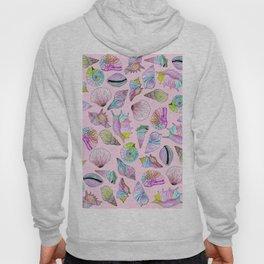 Summer Seashells in Girly Painted Watercolor Paint Hoody