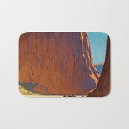 Sunset on the sandstone cliffs, Canyon de Chelly Landscape by Edgar Alwin Payne Bath Mat