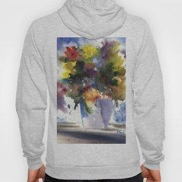 Spring Flowers in Blue Vase, original watercolor painting Hoody