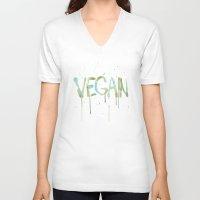 vegan V-neck T-shirts featuring VEGAN by Elisaveta Stoilova