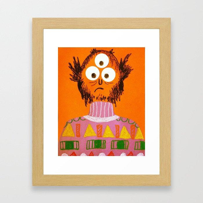 Shape Sweater Monster Framed Art Print