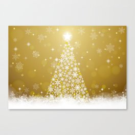 Gold Snowflakes Sparkling Christmas Tree Canvas Print