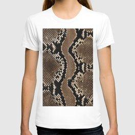 Python Skin Pattern Snake Skin Brown Animal Print Home Decor T-shirt