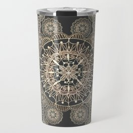 Pewter and Rose-Gold Patterned Mandalas Travel Mug