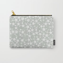 Block Printed Gray Green and White Stars Carry-All Pouch
