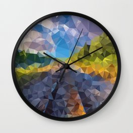 train on the road Wall Clock