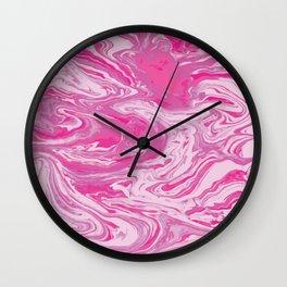 Hot Pink Marbles Wall Clock