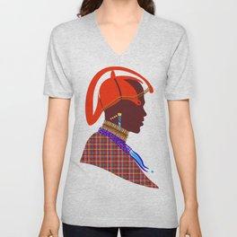 Kenya massai warrior digital art graphic design Unisex V-Neck