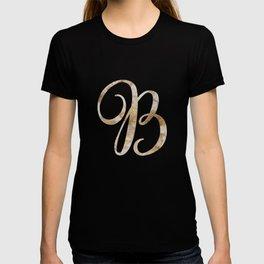 Rose Gold Marble Monogram Alphabet Letter B design T-shirt
