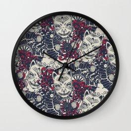 Japanese kitsune mask and fan pattern Wall Clock