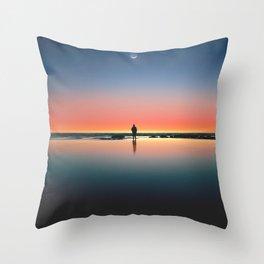 silhouette of man standing on seashore Throw Pillow