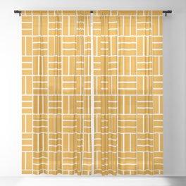 Basketweave (White & Orange Pattern) Sheer Curtain
