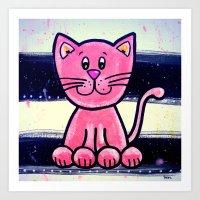 BW PINK cat  Art Print